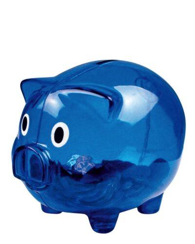 Kunststoff Sparschwein blau