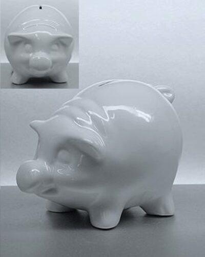 Porzellan Sparschwein SPECKI weiss