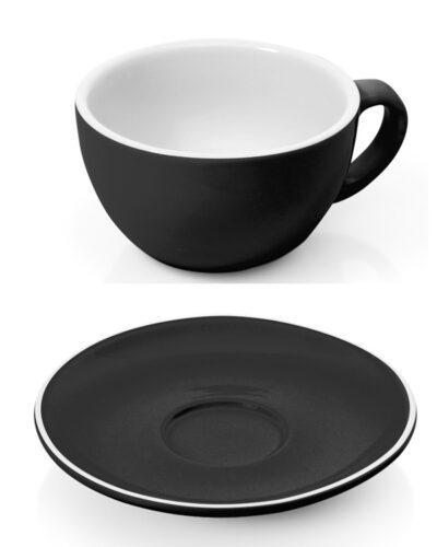 Cappuccinotasse schwarz mit Unterteller