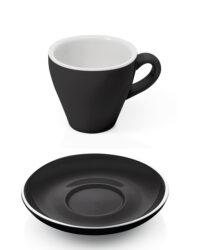 Espressotasse schwarz mit Unterteller
