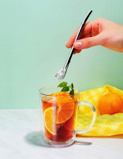 Edelstahl Trinkhalm mit Filter für Mate Tee