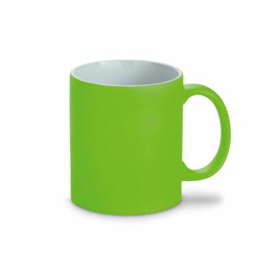grüner Farbkeramikbecher Neon mit Kreide beschreibbar