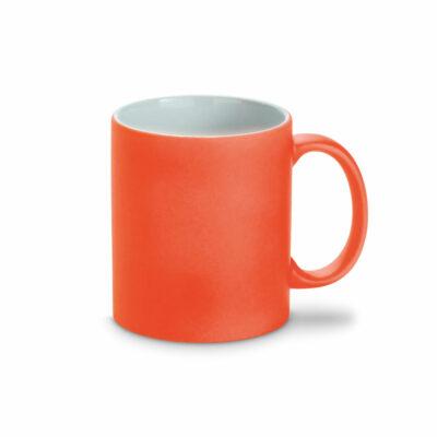 oranger Farbkeramikbecher Neon mit Kreide beschreibbar