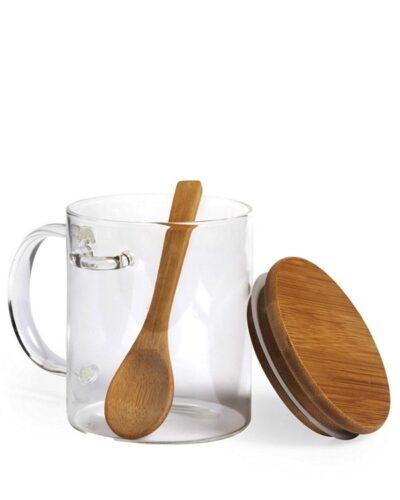 Glasbecher mit Henkel und Loeffel