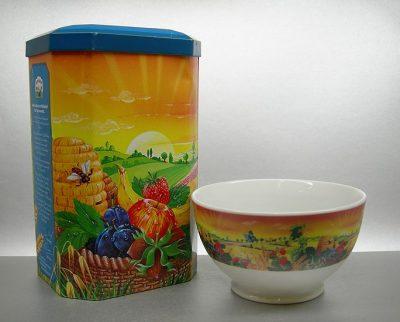 Porzellan Bowl Muesli auf Fuss_mit 4farb CMYK Druck