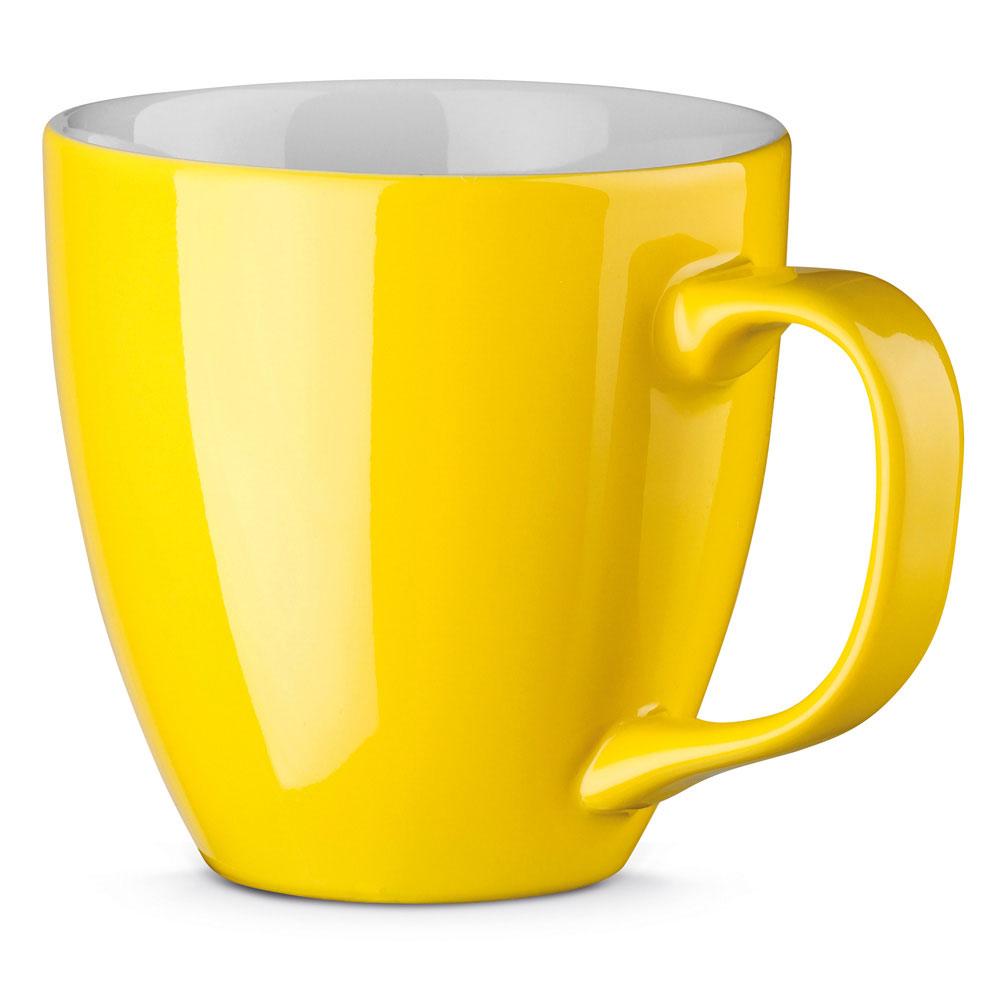 Porzellanbecher per Hydrolack farbig Gelb gespritzt