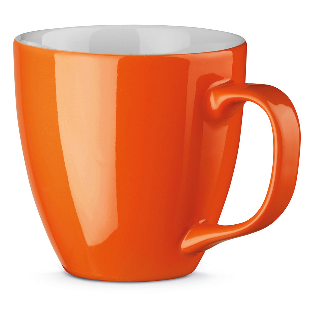 Porzellantasse per Hydrolack farbig Orange gespritzt