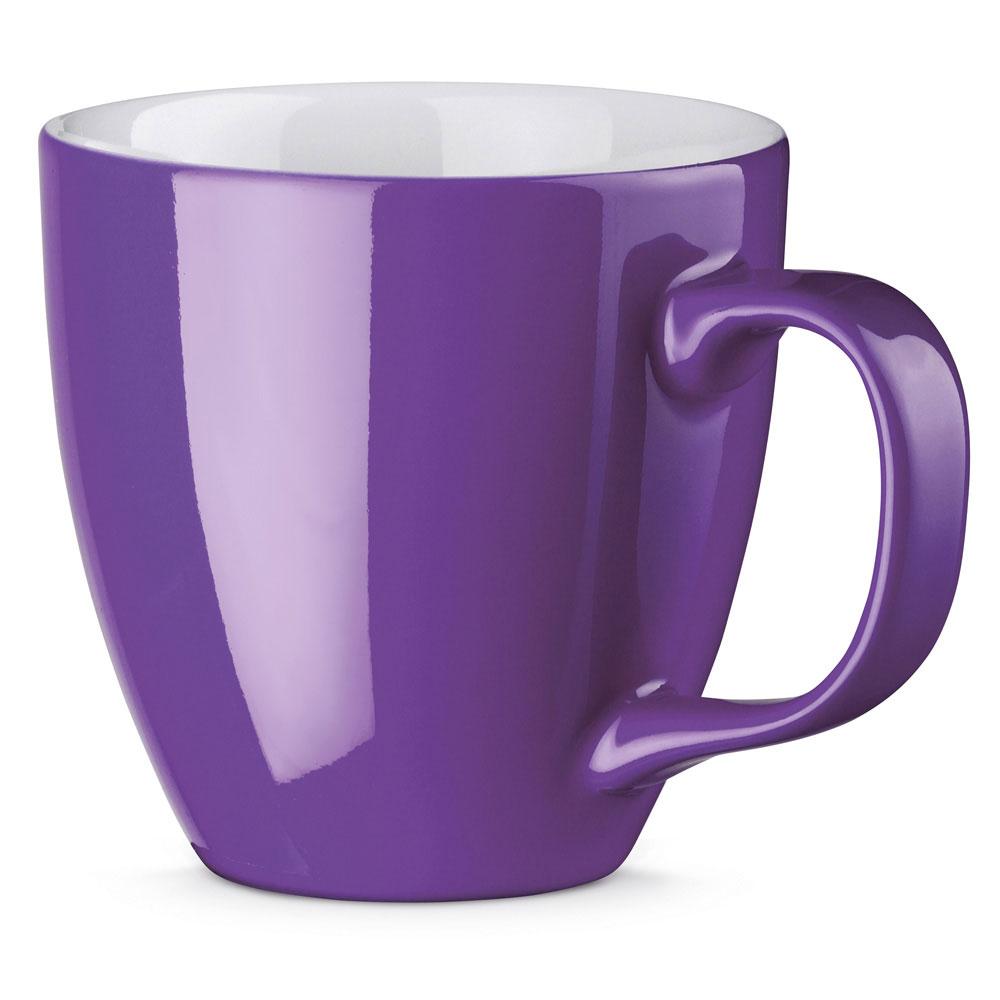 Porzellanbecher per Hydrolack farbig Lila Violett gespritzt
