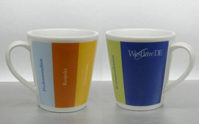 Porzellanbecher Kaffee Grande mit Sonderfarben Echtfarben Umlaufdekor