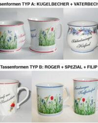 Souvenir Tasse Haferl Formentypen