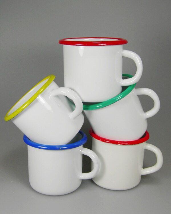 Emailletassen Trinkrand farbig überdruckt