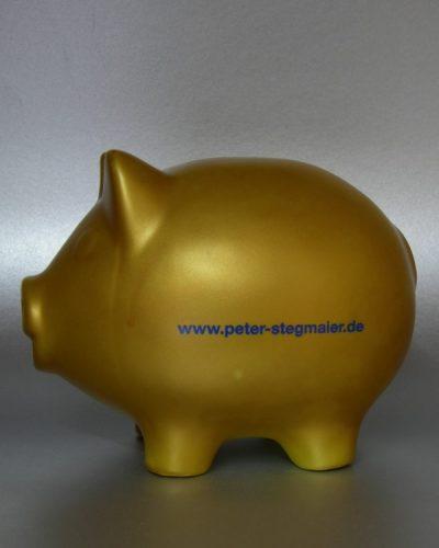goldenes Sparschwein mit Logodruck Muster