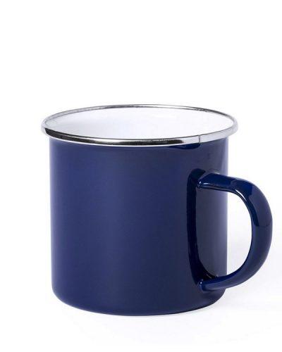 Emaille Tasse blau Metallrand MAK6861