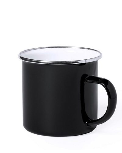 Emaille Tasse schwarz Metallrand MAK6861