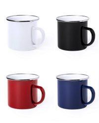 Set von Emaille Tassen mit Metallrand MAK6861Set